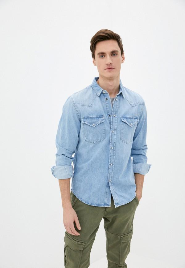 мужская джинсовые рубашка pepe jeans london, голубая