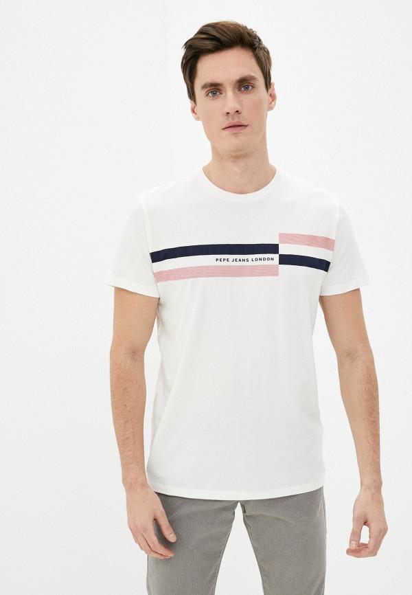мужская футболка с коротким рукавом pepe jeans london, бежевая