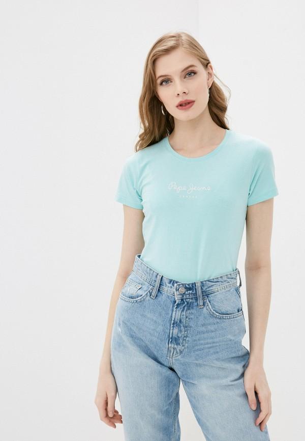 женская футболка pepe jeans london, голубая