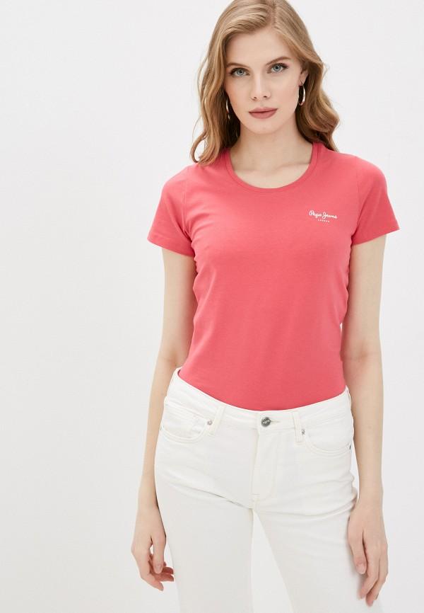 женская футболка pepe jeans london, розовая