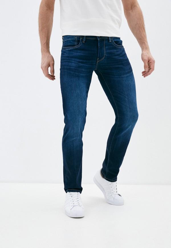 мужские зауженные джинсы pepe jeans london, синие