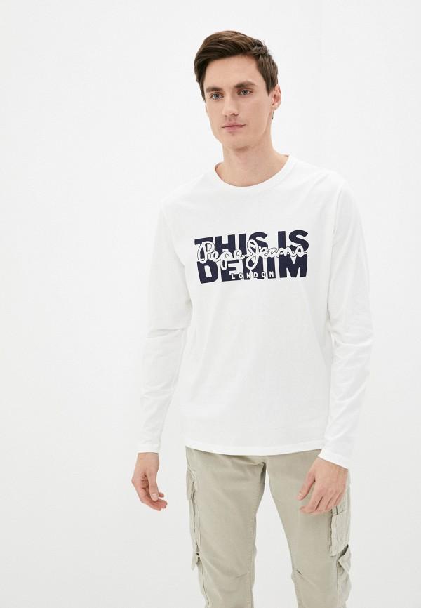 мужской лонгслив pepe jeans london, белый