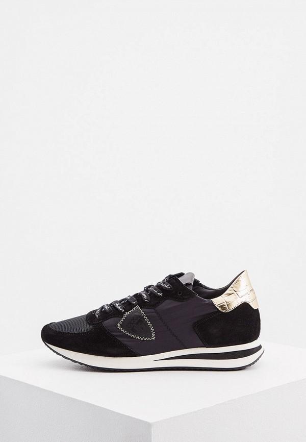 женские низкие кроссовки philippe model paris, черные