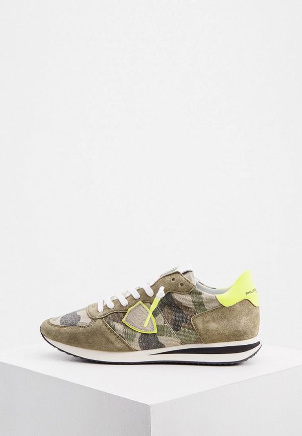 мужские низкие кроссовки philippe model paris, хаки
