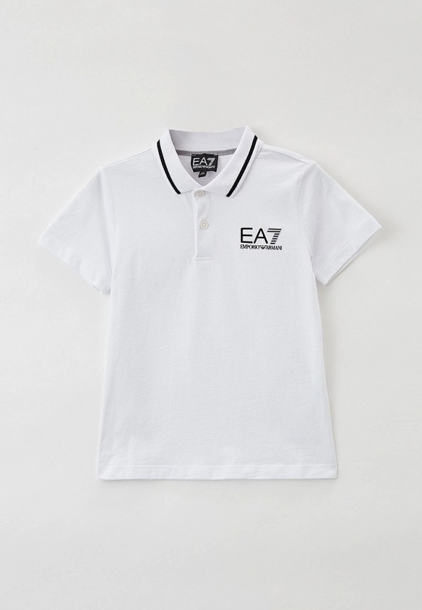 поло ea7 для мальчика, белое