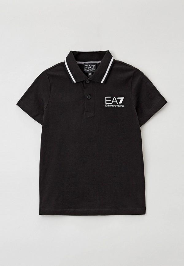 поло ea7 для мальчика, черное