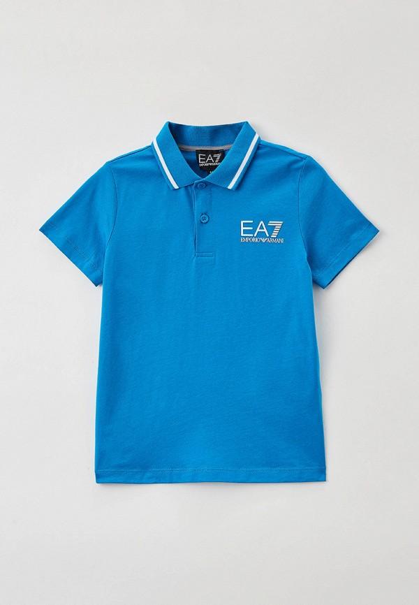 поло ea7 для мальчика, голубое