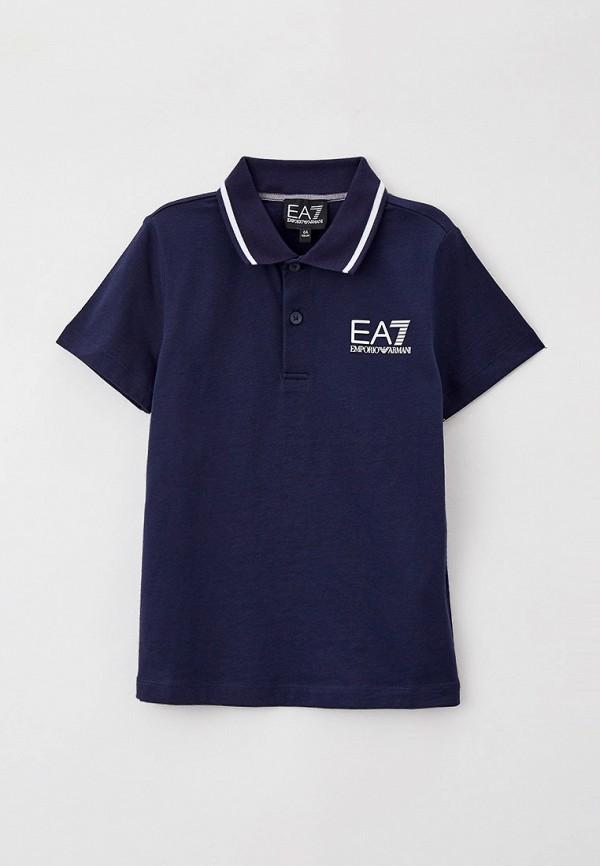 поло ea7 для мальчика, синее