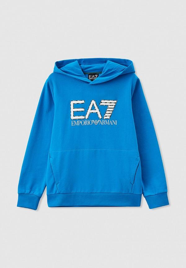 худи ea7 для мальчика, голубые