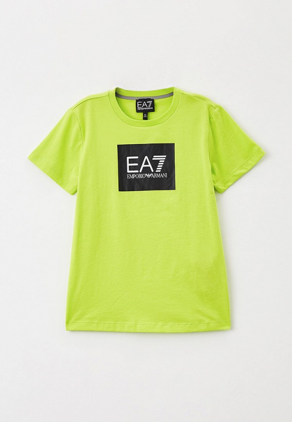 футболка ea7 для мальчика, зеленая