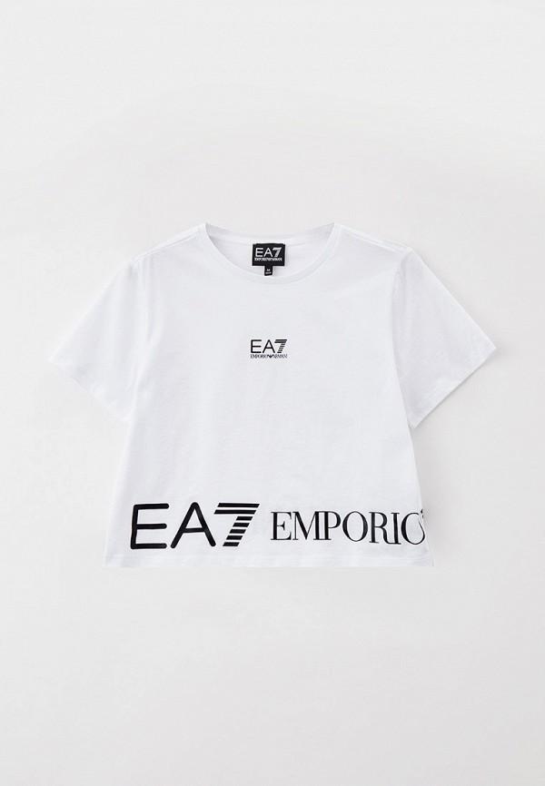 футболка ea7 для девочки, белая