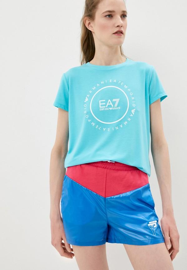 женская спортивные футболка ea7, бирюзовая