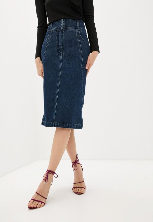 женская джинсовые юбка alberta ferretti, синяя
