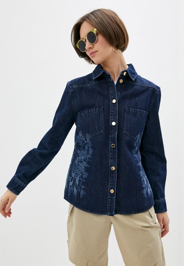 женская джинсовые рубашка alberta ferretti, синяя
