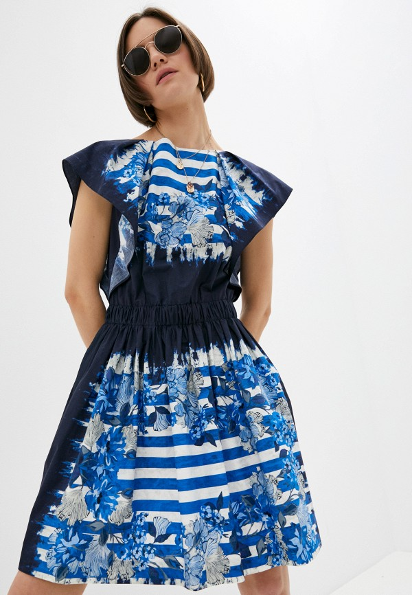 женское повседневные платье alberta ferretti, синее