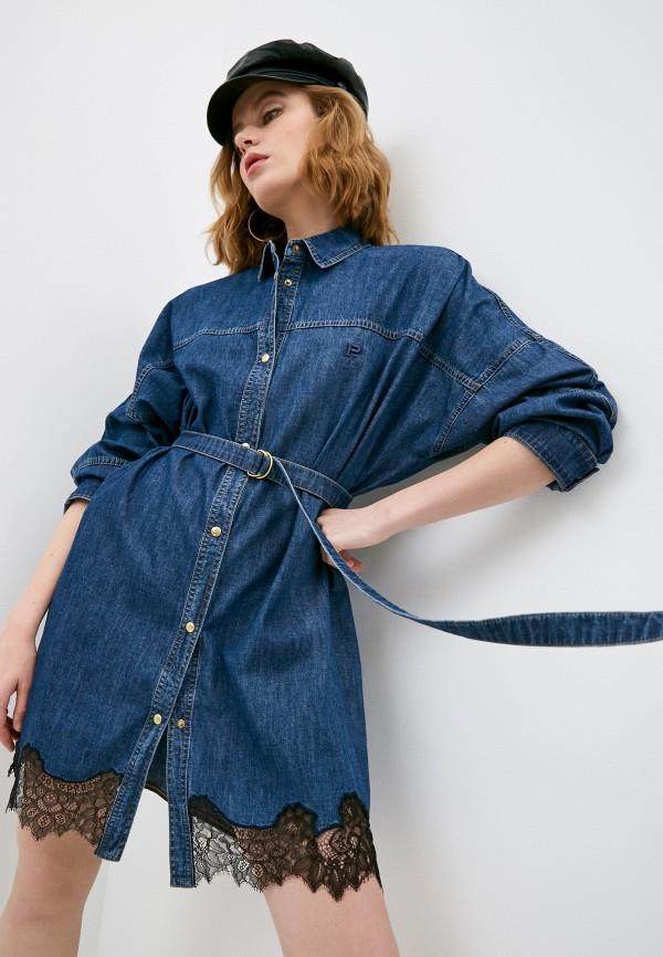 женское джинсовые платье philosophy di lorenzo serafini, синее