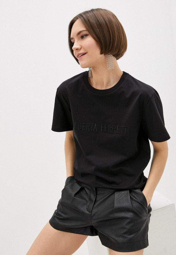 женская футболка alberta ferretti, черная