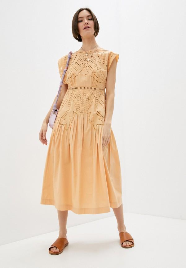 женское повседневные платье alberta ferretti, оранжевое