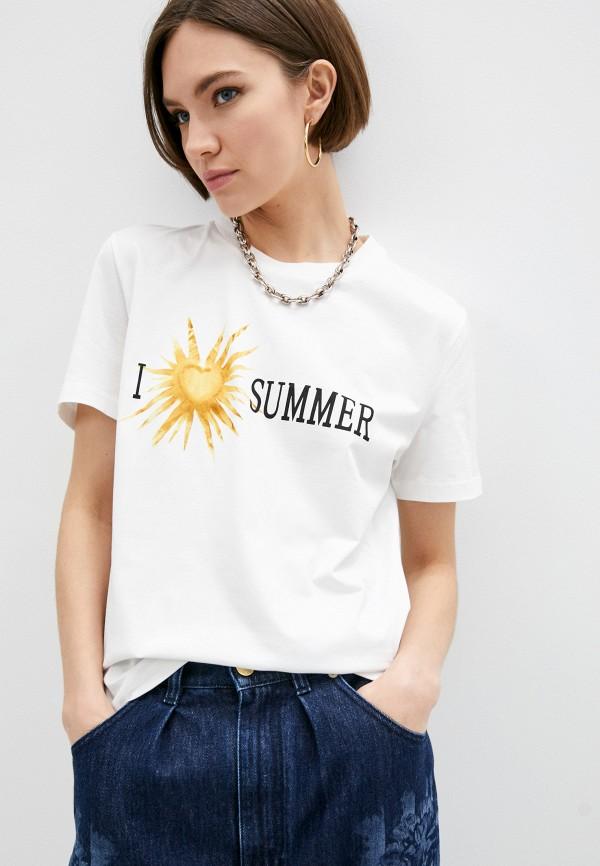 женская футболка alberta ferretti, белая