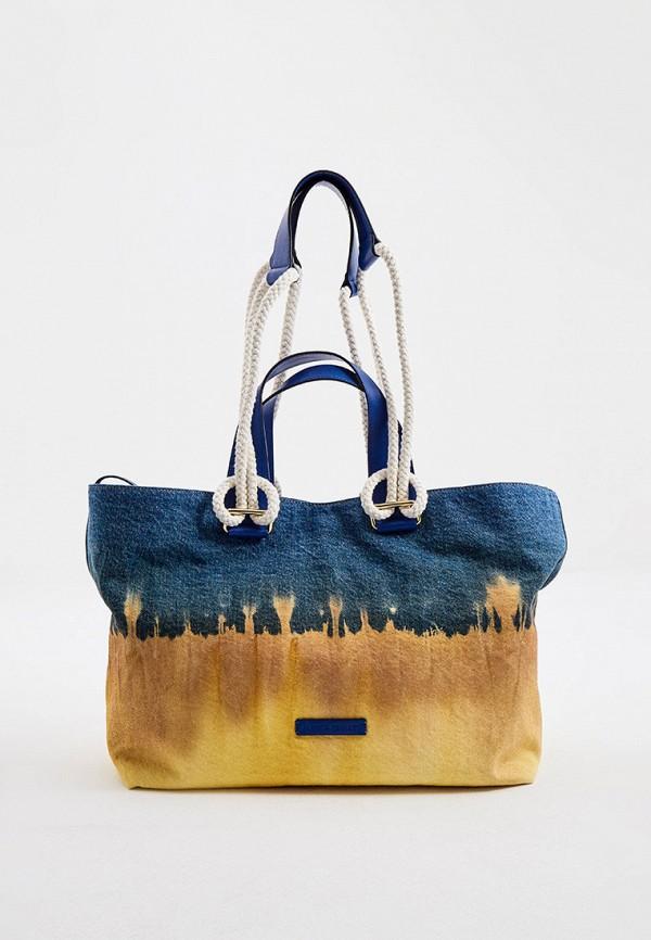 женская сумка-шоперы alberta ferretti, разноцветная