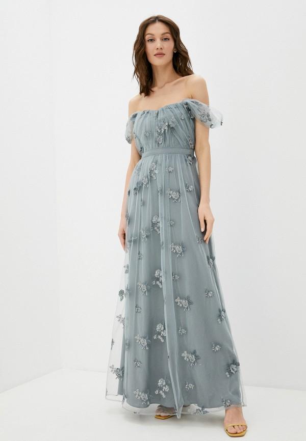 женское вечерние платье chi chi london, серое