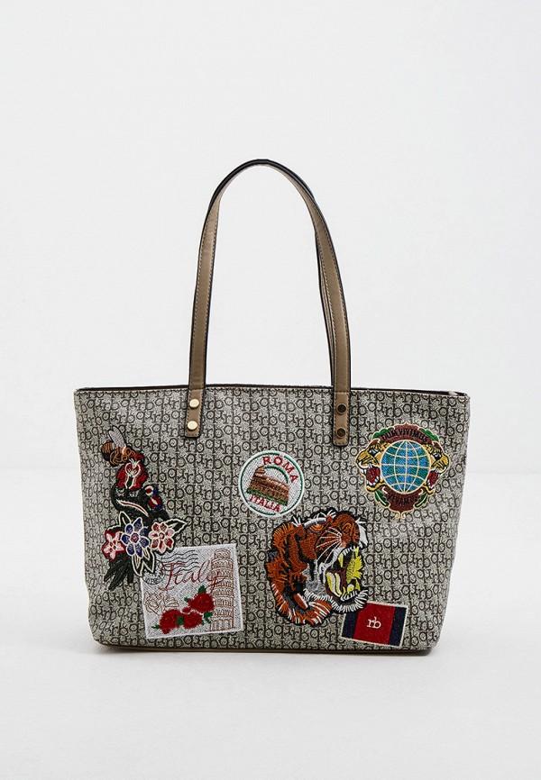 женская сумка с ручками roccobarocco, бежевая