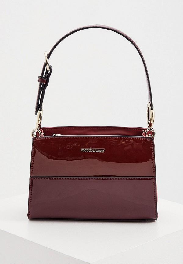 женская сумка с ручками roccobarocco, бордовая