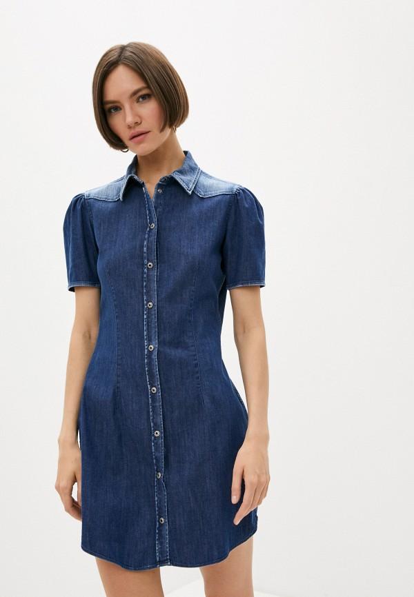 женское джинсовые платье dondup, синее
