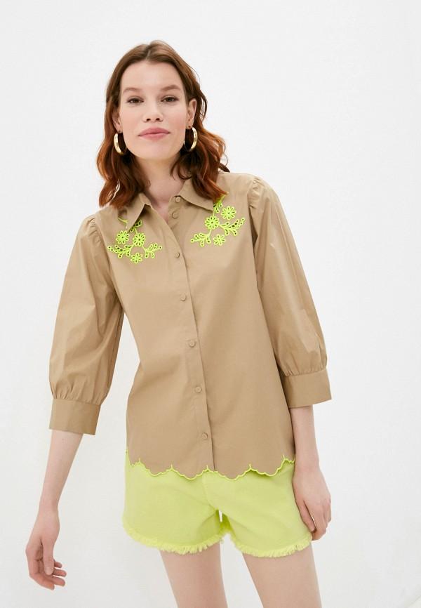 женская рубашка с длинным рукавом twinset milano, бежевая