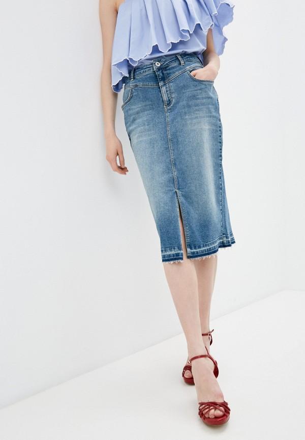 женская джинсовые юбка twinset milano, голубая