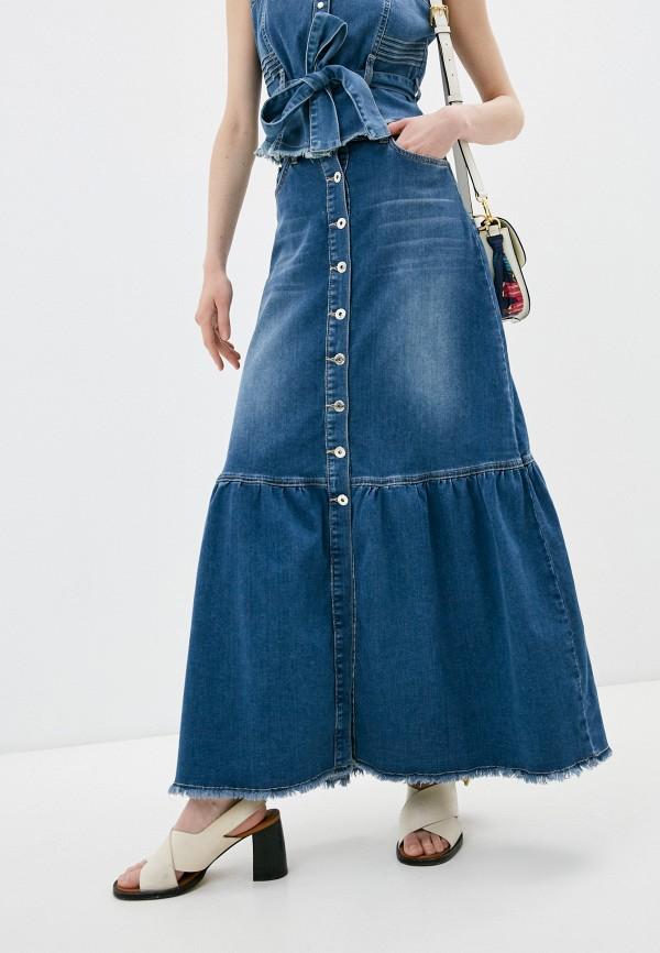 женская джинсовые юбка twinset milano, синяя
