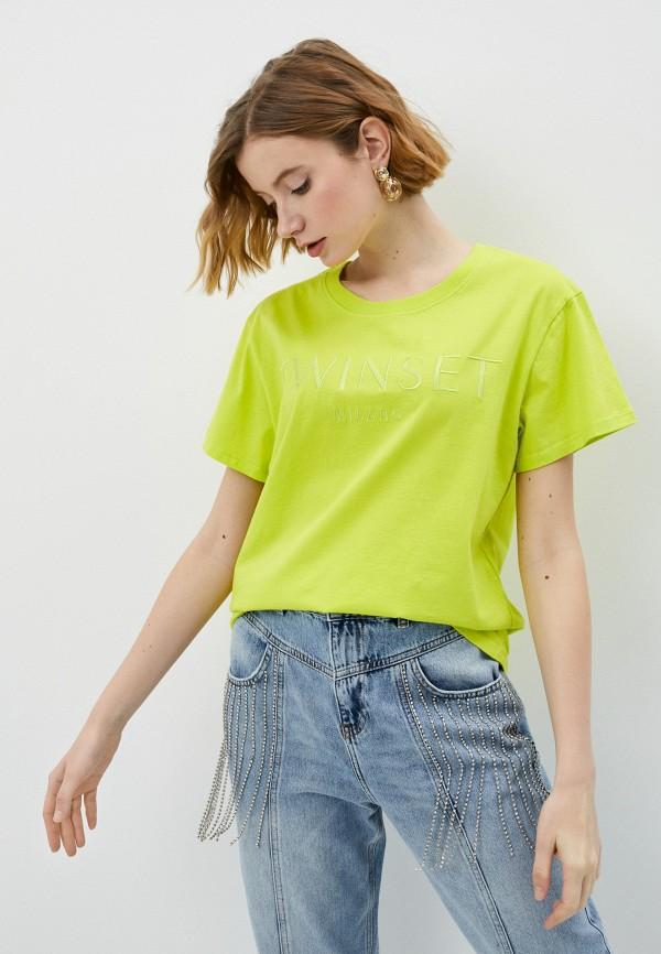 женская футболка twinset milano, зеленая