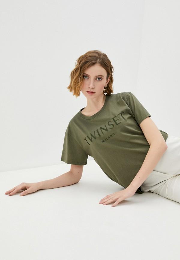 женская футболка twinset milano, хаки