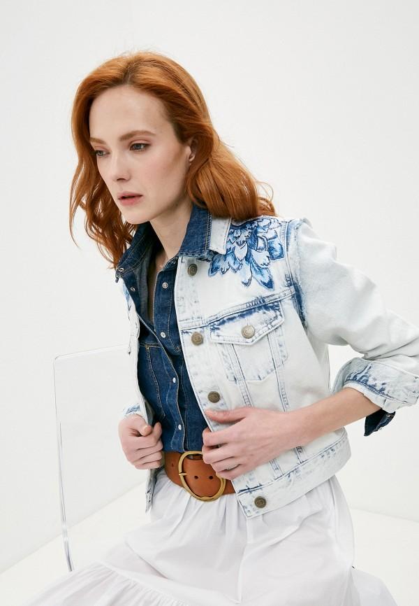 женская джинсовые куртка twinset milano, голубая