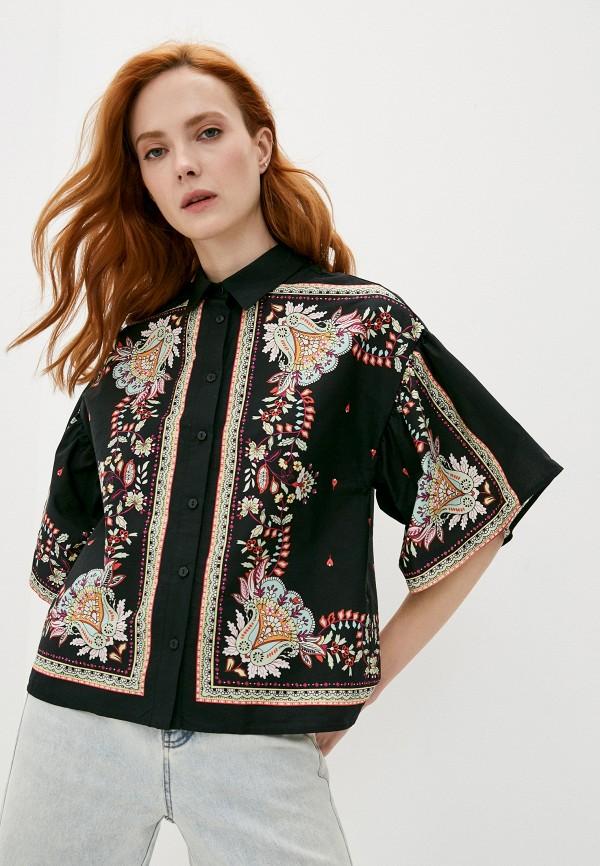 женская рубашка с коротким рукавом twinset milano, черная