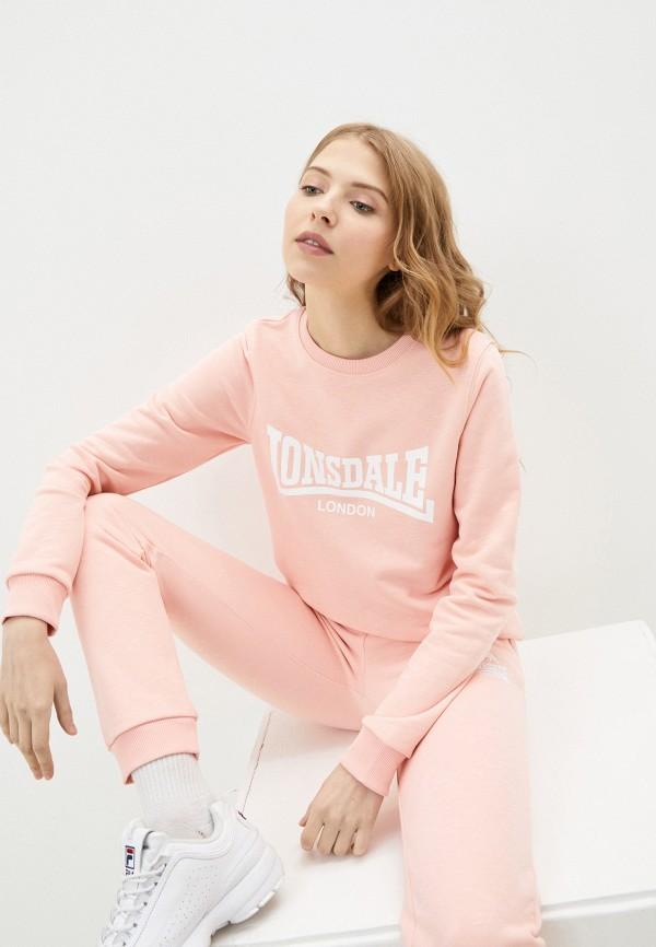 женский свитшот lonsdale, розовый