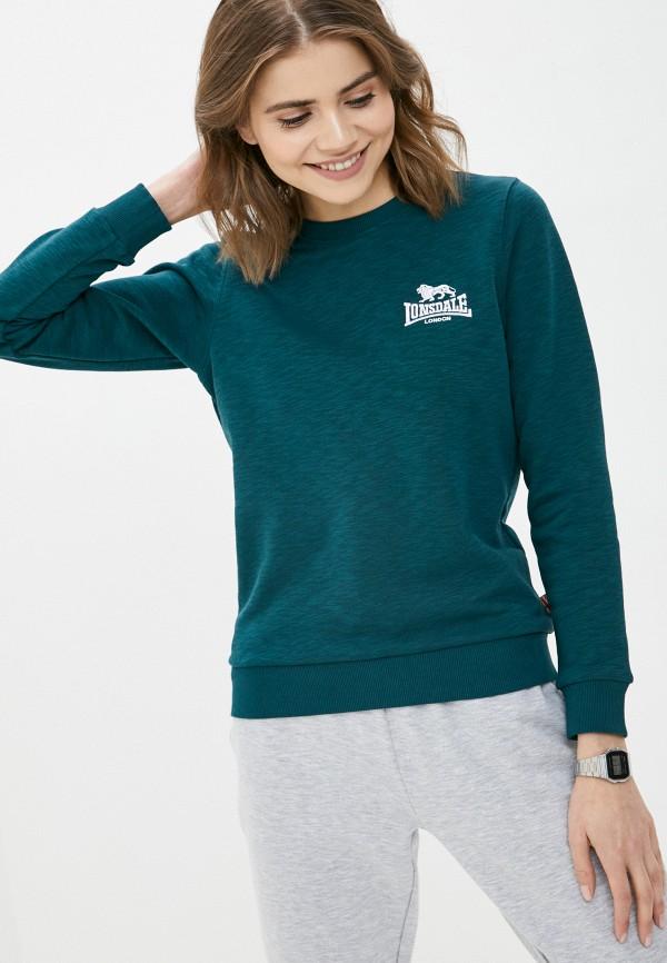женский свитшот lonsdale, зеленый