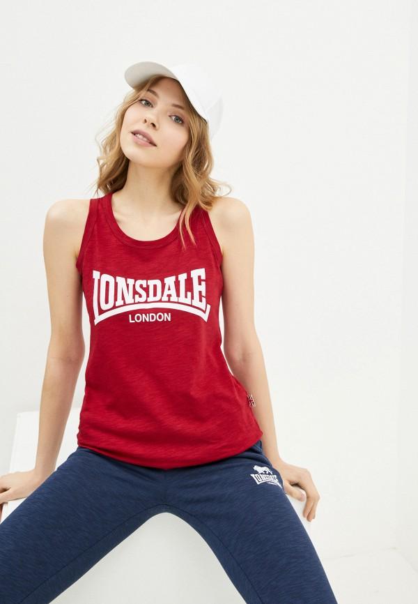 женская спортивные майка lonsdale, бордовая