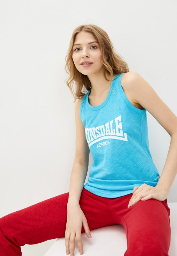 женская спортивные майка lonsdale, голубая