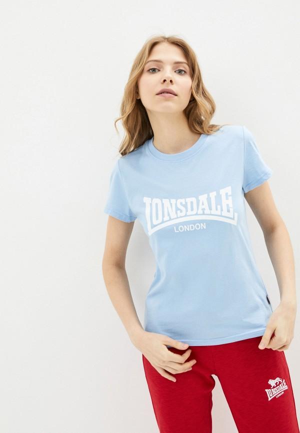 женская спортивные футболка lonsdale, голубая