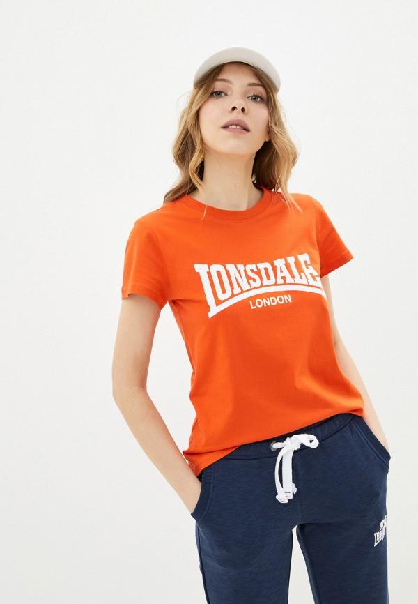 женская спортивные футболка lonsdale, оранжевая