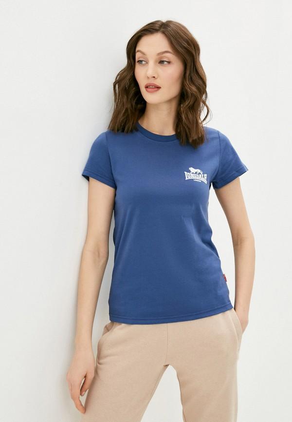 женская спортивные футболка lonsdale, синяя