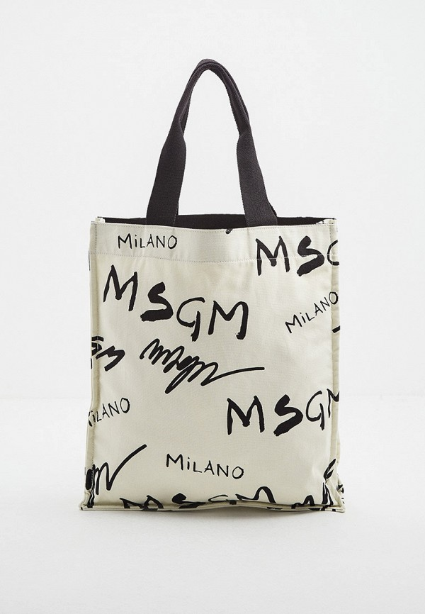 женская сумка-шоперы msgm, бежевая