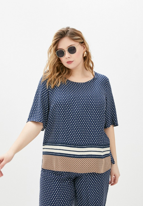 женская блузка persona by marina rinaldi, синяя