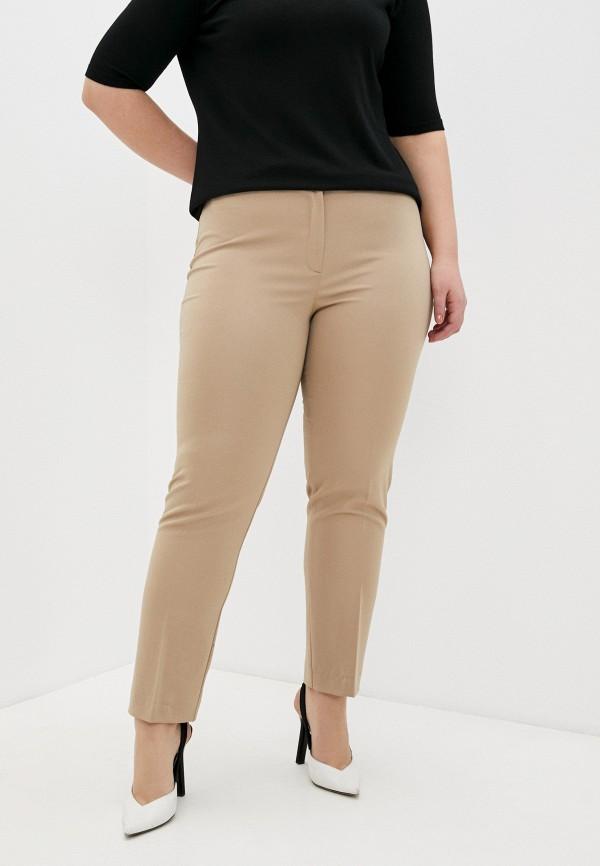женские прямые брюки persona by marina rinaldi, бежевые
