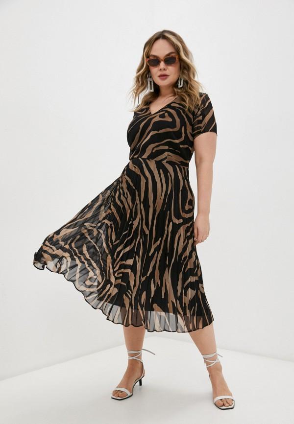 женское повседневные платье persona by marina rinaldi, коричневое