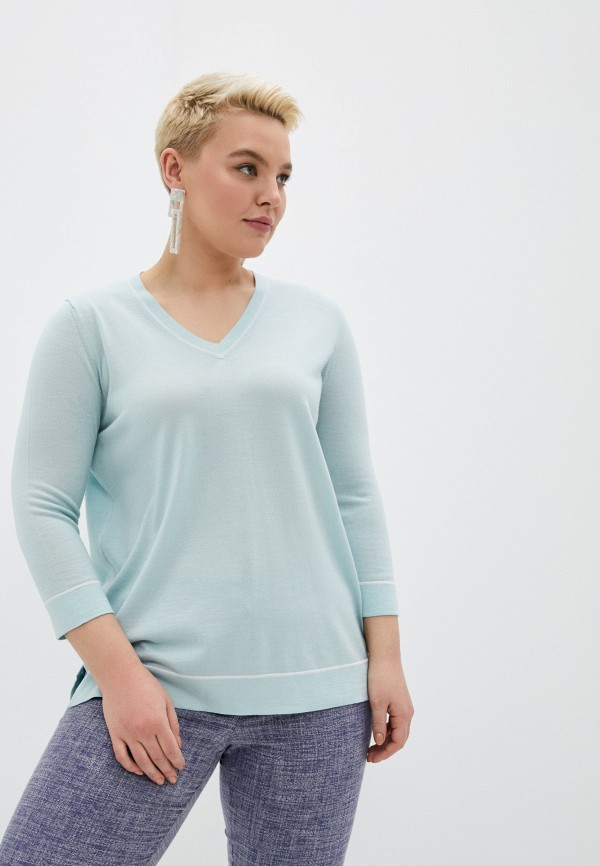 женский пуловер persona by marina rinaldi, бирюзовый
