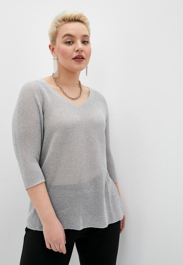 женский пуловер persona by marina rinaldi, серый