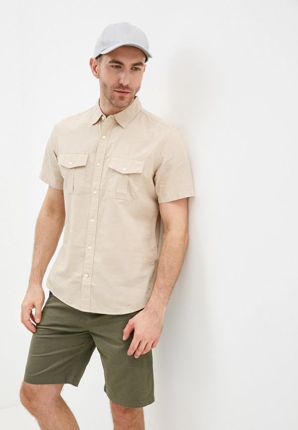 мужская рубашка с коротким рукавом gap, бежевая