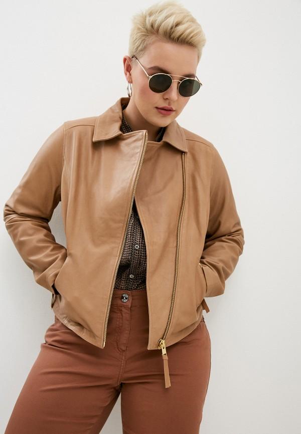 женская куртка косухи marina rinaldi sport, коричневая